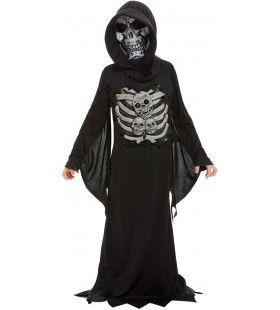 Zwarte Sinistere Skelet Beul Kind Kind Kostuum