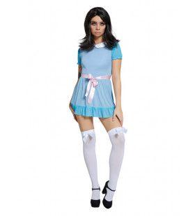 Blauwe Sexy Pop Vrouw Kostuum
