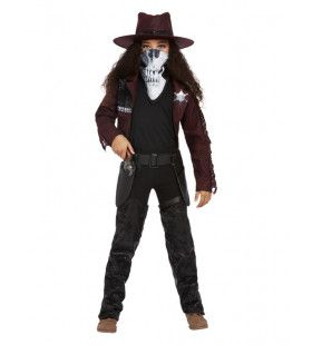 Luxe Cowboy Met Schedelmasker Meisje Kostuum