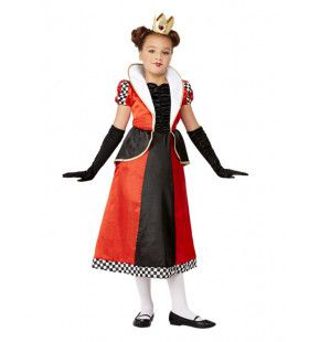 Hartenkoningin Rood-Zwart Meisje Kostuum