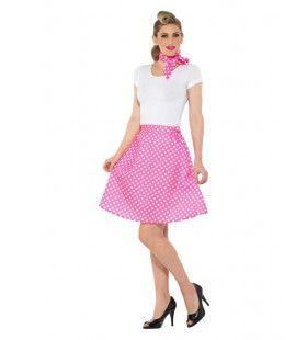 Roze Stippen Jaren 50 Polka Dot Vrouw Kostuum