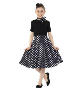 Jaren 50 Zwart Witte Stippen Polka Dot Meisje Kostuum