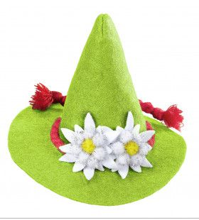 Vrolijke Mini Bayern Hoed Met Edelweiss, Groen