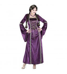 Purple Lady Middeleeuwse Prinses Vrouw Kostuum