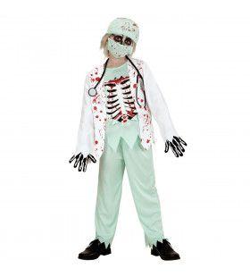 Skelet Zombie Dokter Jongen Kostuum