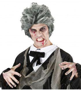Pruik, Zombie Man Grijs Death Dracula