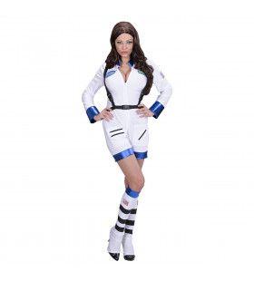 Ms Space Vrouwelijke Astronaute Wit Kostuum