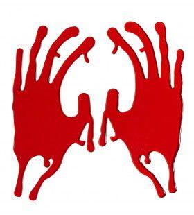 Halloween Deco Raamstickers 20cm, Bloederige Hand