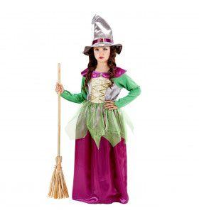 Bonte Heks Kind Groen / Paars Kostuum Meisje