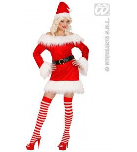 Miss Santa Fluweel Pluche Chrismas Lady Kostuum Vrouw