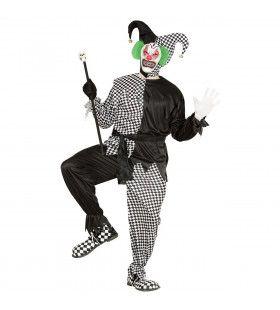 Jolige Evil Jester Zwart / Wit Man Kostuum