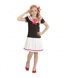 Zwart-Wit Matroos Meisje Kind Kostuum