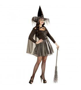 Witchita Glimmende Heks Zilver Vrouw Kostuum