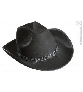 Cowboyhoed Zwart Met Strass Band
