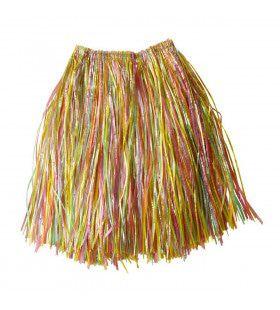 Hawaiirokje Stro Meerkleurig, 55cm Kostuum