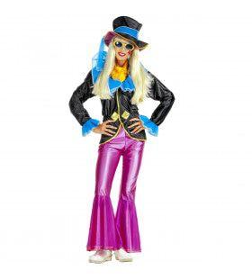 Hippie Dame Blauw Roze Ms Nozem Kostuum Vrouw