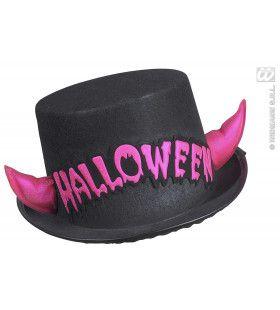 Hoge Hoed Halloween Met Roze Spiegelende Hoorntjes