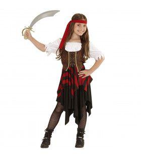 Boekanier Killer Piratenmeisje Bruin Rood Kostuum