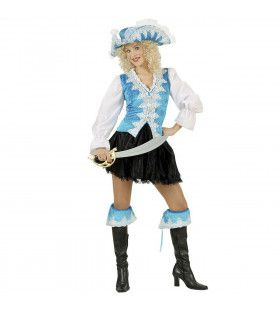 Kleurrijke Koninklijke Pirate, Licht Blauw Kostuum Vrouw