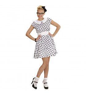 Jurk 50s Met Petticoat, Wit Ms Diner Kostuum Vrouw