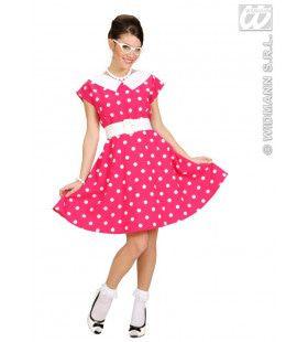 Jurk 50s Met Petticoat, Roze Ms Diner Kostuum Vrouw