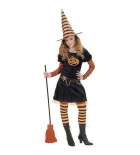 Halloween Heks Pompoen Kostuum Meisje