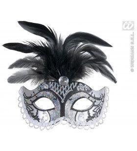 Oogmasker, Zwart / Zilver Glitter Met Diamant En Veren