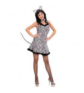 Sexy Zebra Zilver Zebra Kostuum Vrouw