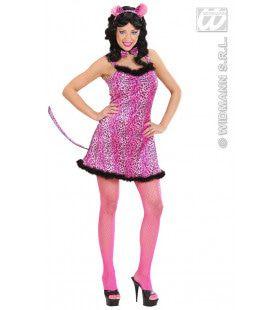 Sexy Roze Luipaard Pink Leopard Kostuum Vrouw