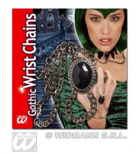 Gothic Polsketting Met Zwart Gem Medaillon