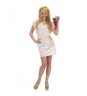 Griekse Of Romeinse Tuniek Beige Met Gouden Riem Kostuum Man