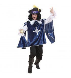 Musketier Dartagnan En Garde Blauw Kostuum Man