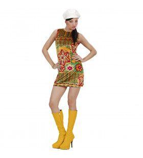 Woodstock 60s Mode Meisje Fluweel Met Muts Kostuum Vrouw