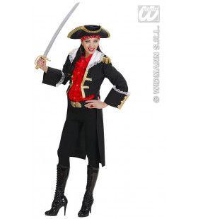 Keurig Piratenkapitein Dame In Zwart Kostuum Vrouw