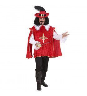 Musketier Dartagnan Engarde Rood Kostuum Man