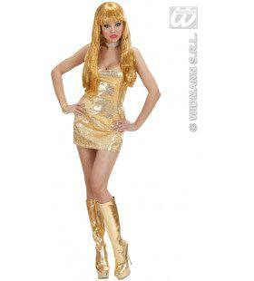Glimmende Pailletten Jurk Goud Kostuum Vrouw