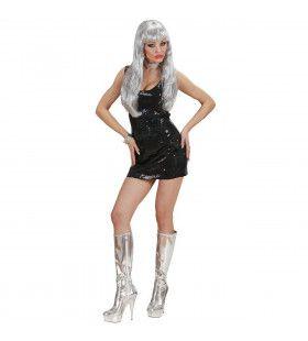 Glimmende Pailletten Jurk Zwart Kostuum Vrouw