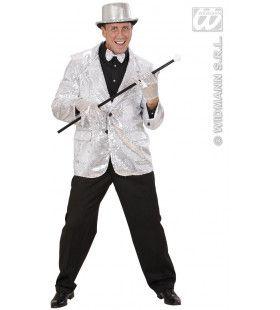 Pailleten Jas Zilver Man Kostuum