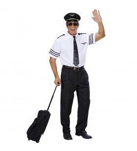 Pilotenshirt Met Stropdas En Hoed Man Kostuum