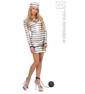 Sexy Gevangene Holografisch Zwart / Wit Sexy Prisoner Kostuum Vrouw