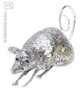 Glitter Muis Zilver 12cm