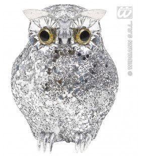 Glitter Uil Zilver 15cm