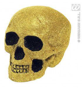 Glitter Schedel Goud 19cm