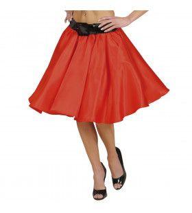 Satijnen Rokje Met Petticoat, Rood Vrouw Kostuum