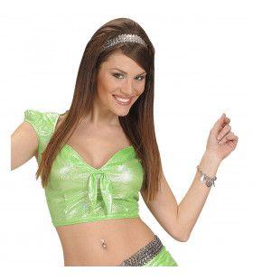 Top Holografisch Met Strik, Groen Vrouw Kostuum