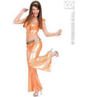 Top Holografisch Met Strik, Oranje Vrouw Kostuum