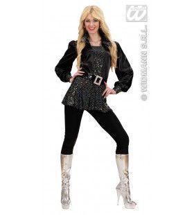Zwart Shirt Pailletten Vrouw Kostuum