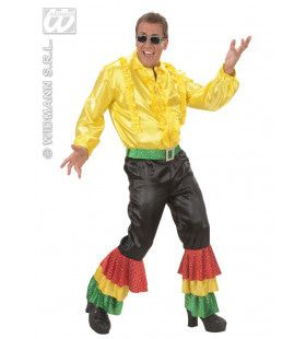 Zwarte Broek Fluweel Met 3 Kleuren Pailetten Man Kostuum