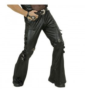 Zwarte Leren (Lederlook) Broek Met Sluitingen Man
