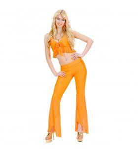 Samba Top En Broek Neon Oranje Blote Navel Kostuum Vrouw